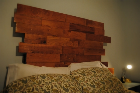 Made from reclaimed cherry flooring.